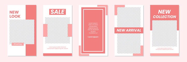 Slides Abstract Unique Editable Modern Social Media Pastel Pink Red Banner Template. Anyone can use This Design Easily. Promotional web banner for social media stories. Vector Illustration.