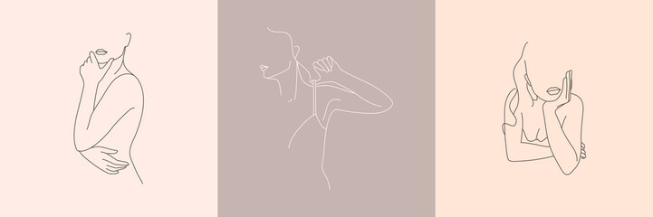 Set of Abstract minimalistic female figure in underwear. Vector illustration of the female body in a linear style.