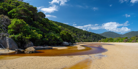Tidal River with its distinct brown water flowing into the ocean among green forested hills in Wilsons Promontory, Victoria, Australia