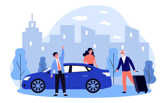 Positive grandpa going on vacation. Old man walking to car and wheeling suitcase flat vector illustration. Car sharing or senior parents support concept for banner, website design or landing web page
