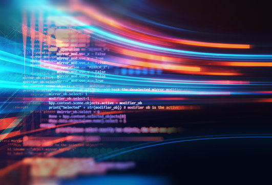 Programming code abstract technology background of software developer and  Computer script .3d illustration