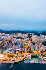 Wall Mural - Amazing Aerial view of Kwun Tong, focus on the East side of Hong Kong