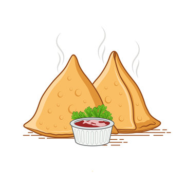 Set of 2 samosa vector illustration