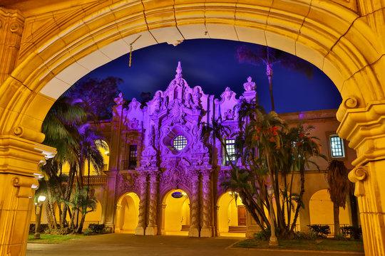 Archway framing Casa de Prado in Balboa Park, San Diego, California, USA