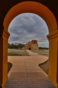 Archway framing San Jose de Tumcacori mission at Tumacacori National Park in Arizona, USA