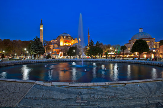 Aya Sofya (Hagia Sophia in Greek). This incredible monument was commissioned by the great Byzantine emperor Justinian. Istanbul, Turkey