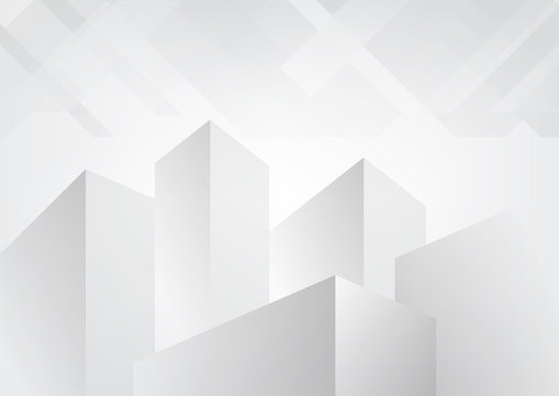 Grey and White Abstract background geometry shine and layer element concept building structure vector illustration.