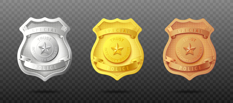 Police officers badges in three metal set realistic vector illustration isolated.