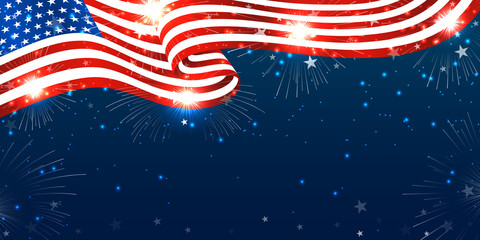 Creative Fourth of July American independence day background with USA flag-waving, firework burst & stars. Use for sale banner, discount banner, Advertisement banner, postcard, etc.