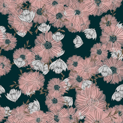Simple cute lotus floral bouquet vector pattern with small and medium flowers and leaves.