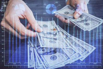 Poster Pays d Asie Multi exposure of financial graph drawing hologram and USA dollars bills and man hands. Analysis concept.
