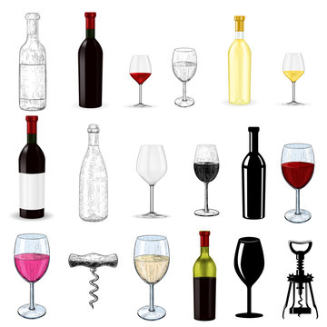 Wine set. Glasses and bottles. Hand drawn sketch and 3d elements