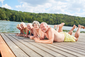 Retired seniors relax at the lake