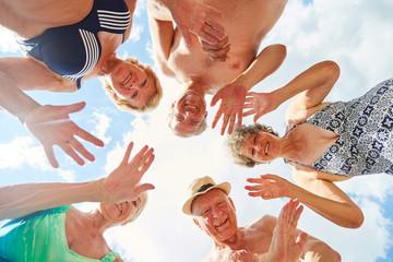 Vital senior citizens have fun on vacation
