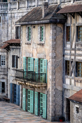 View of the facade of old buildings in the Bana Hills, Danang, French Village, Vietnam