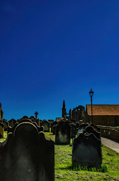 Grave stones Whitby Abbey North Yorkshire.