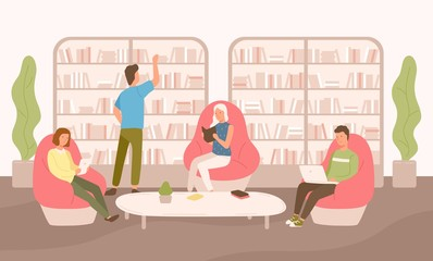 Keuken foto achterwand Honden People sit on comfy armchairs with book, tablet and laptop vector flat illustration. Man and woman reading and working at public library isolated on white background. Shelves and racks with books