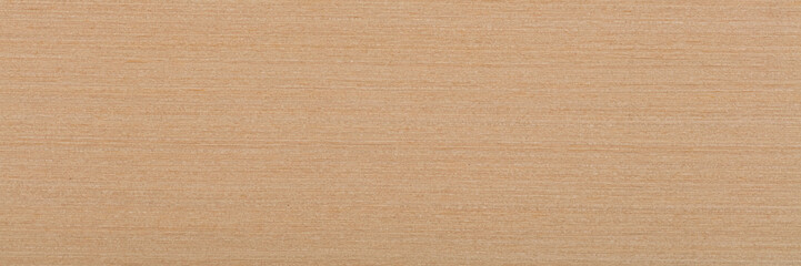 Light beige maple veneer background as part of your design. Natural wood texture, pattern of a long veneer sheet, plank.