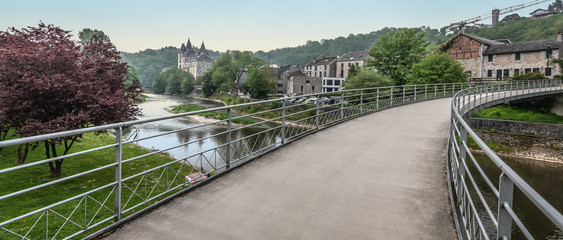 Bridge over the Ourthe river in Durbuy, Belgium