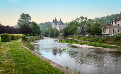 Kayak on Ourthe River in Durbuy, Ardennes, Belgium.