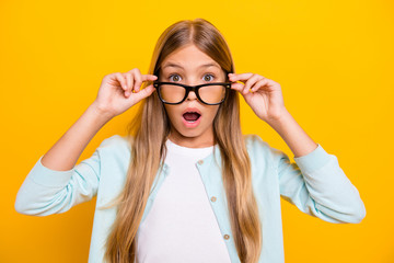 Photo of beautiful pretty little blond lady diligent student pupil take off glasses open mouth see...