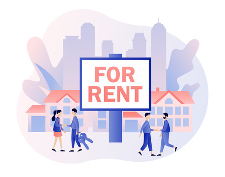 Big sign House for sale. Real estate business concept with houses. Tiny real estate agents or broker shaking hands with people. Modern flat cartoon style. Vector illustration on white background