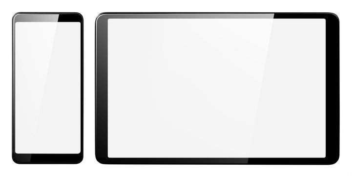 Smartphone and tablet, isolated on white background