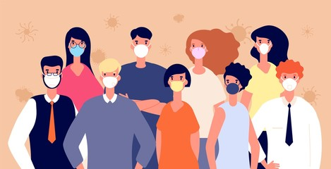 People in medical masks. Flu virus prevention. Man woman wearing individual health protection, covid-19 or coronavirus vector illustration. Protection people mask against coronavirus, safety crowd