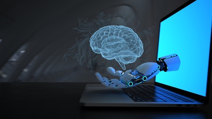 Robot Hand AI Digital Brain Notebook