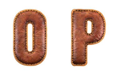 Set of leather letters O, P uppercase. 3D render font with skin texture isolated on white background.