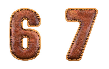 Set of numbers 6, 7 made of leather. 3D render font with skin texture isolated on white background.