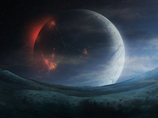 cities on dark side of planet, sci fi space landscape 3d illustration