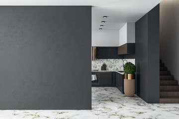 Clean kitchen studio interor and blank black wall.