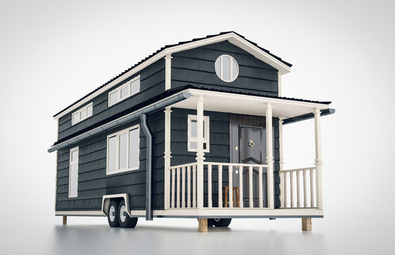 Concept of a mobile scandinavian tiny house isolated on white background. 3d rendering.