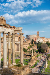 Roman Forum at sunset in Rome, Italy.