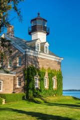 Beautiful Morgan Point Lighthouse at sunset, Noank, Connecticut, USA