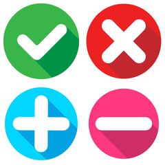 Set of flat square check mark, X mark, plus sign and minus sign icons, buttons isolated on a white background. EPS10 vector file