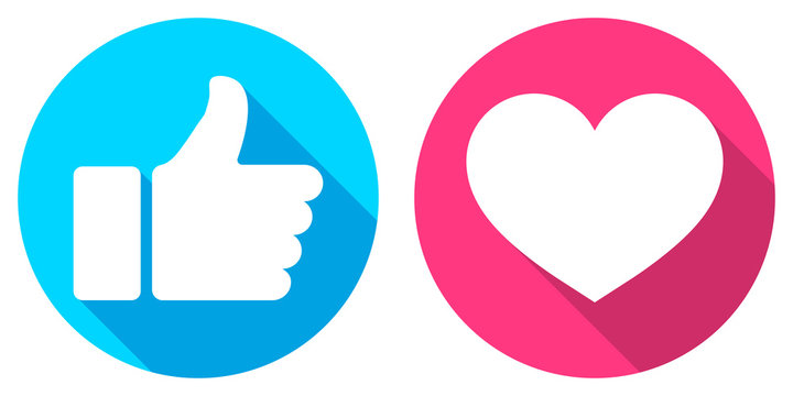 Thumb up and heart icon. Vector like and love icon. Ready like and love button for website and mobile app.