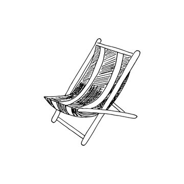Folding deck lounge chair for summer rest, country house, garden sitting and suntanning. Vector hand drawn illustration in sketch doodle style. Concept of comfort, convinient rest, furniture.