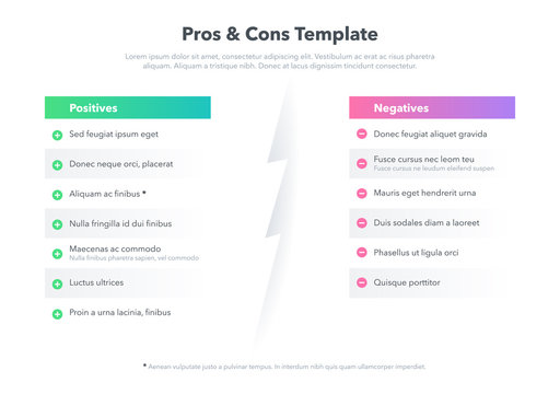 Simple infographic for pros and cons with place for your content. Easy to use for your website or presentation.