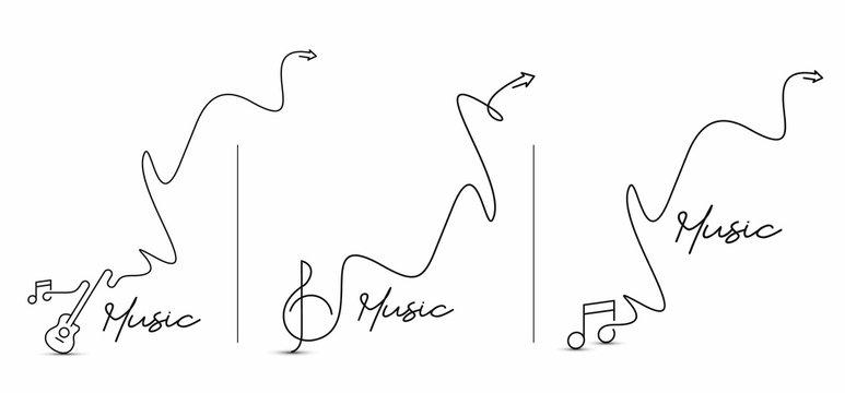Set of Music Calligraphic line art Text shopping poster vector illustration Design.
