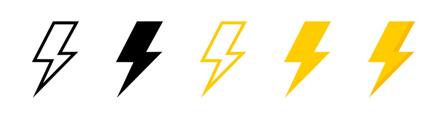 Electric vector icons, isolated. Bolt lightning flash icons. Flash icons collection. Bolt logo. Electric symbols. Electric lightning bolt symbols. Flash light sign. Vector illustration