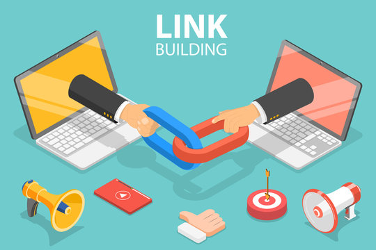 3D Isometric Flat Vector Concept of Link Building, SEO, Backlink Strategy, Digital Marketing Campaign.