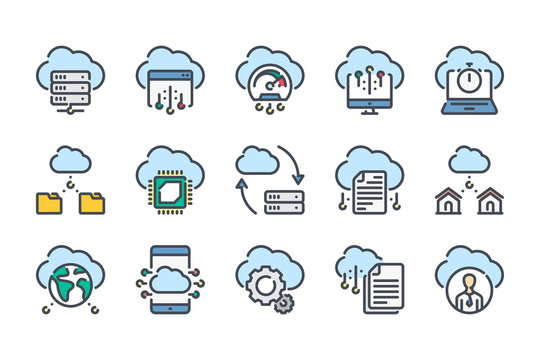 Cloud Computing and Cloud Services related color line icon set. Cloud Data and Server colorful linear icons. Cloud Technology flat color outline vector sign collection.