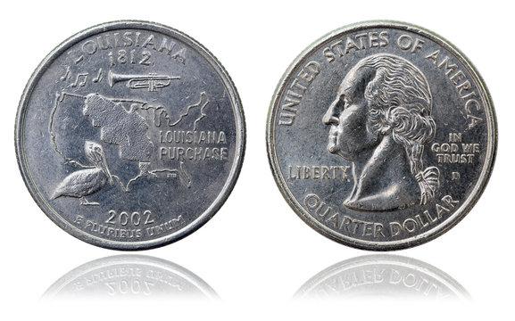 Quarter dollar coin. Map of Louisiana. 2002 year