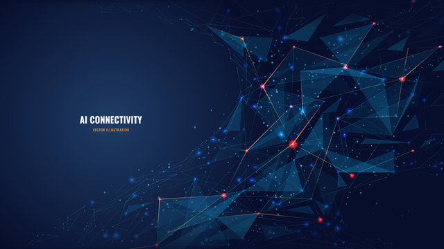Abstract polygonal background from lines, dots and glowing particles with plexus effect. Artificial intelligence connectivity or technology concept. Digital vector mesh illustration in dark blue