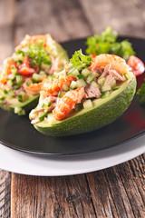 avocado salad with shrimp and cucumber