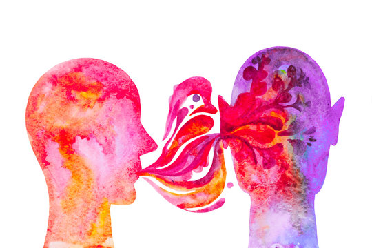 Sussurrare nell'orecchio, confessione. Ascoltare la voce. Disegno colorato, sfondo bianco.
