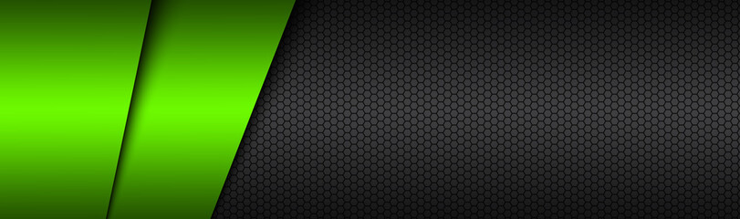 Black and green modern material vector header with a hexagonal mesh. Design banner with polygonal grid and blank space for your logo. Abstract website design