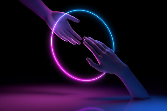 Ultraviolet 3d rendering mannequin hands interacting with neon glowing circle, abstract minimal pink blue glowing round frame for fashion concept and virtual reality, partnership for cyber technology